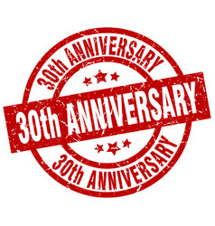 30th anniversary round red grunge stamp vector