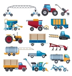 Agricultural Machines Icons Set vector