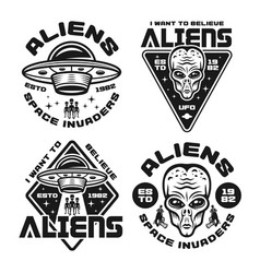 Aliens and ufo set four emblems vector