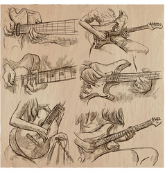 an hand drawn collection pack - guitar solo vector image