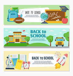 back to school banner set classroom decor vector image
