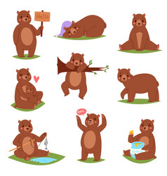 bear set cartoon animal character and cute vector image