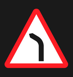 Bend to left warning sign flat icon vector