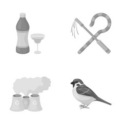 Bird alcohol and other monochrome icon in cartoon vector