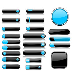 Black and blue menu buttons interface elements vector