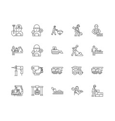 bricklayers line icons signs set outline vector image