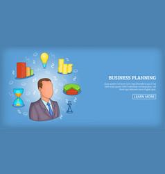 Business plan banner horizontal man cartoon style vector