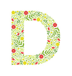 capital letter d green floral alphabet element vector image