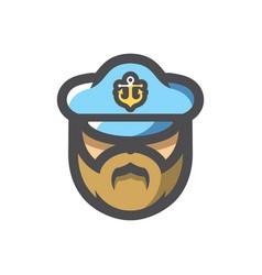 captain men in cap icon cartoon vector image