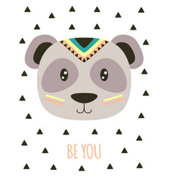 card with tribal cartoon panda vector image