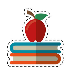cartoon apple book school symbol vector image