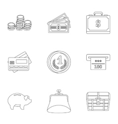 Cash icons set outline style vector image
