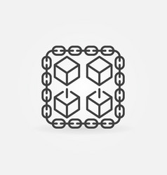 chain with cubes line icon blockchain sign vector image