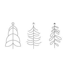 christmas trees set hand drawn monochrome vector image