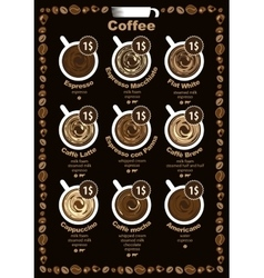coffee menu with price vector image vector image