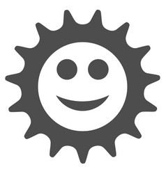 Cog glad smiley flat icon vector