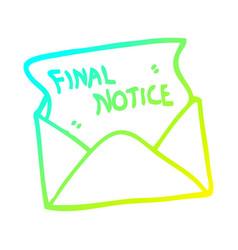 Cold gradient line drawing cartoon final notice vector