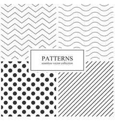collection simple seamless geometric patterns vector image