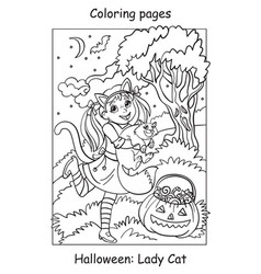 Coloring halloween cute little girl with cat vector