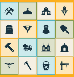 Construction icons set with ax with pickax hammer vector