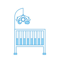 Cot baby shower with mobile toy furniture infant vector