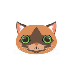 Cute brown cat head with green eye funny cartoon vector