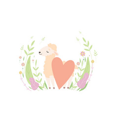 cute little lamb with red heart adorable sheep vector image