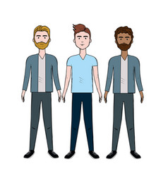cute men with hairstyle and different wear vector image