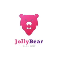 Cute minimalistic bear head with bow tie vector