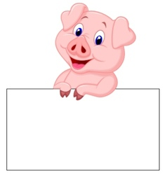 Cute pig cartoon holding blank sign vector image