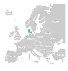denmark marked by blue in grey political map of vector image