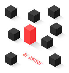 different isometric cubes like be unique vector image