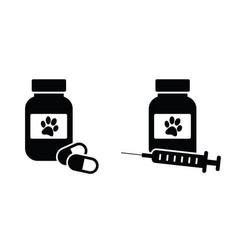 Dog cat medicine bottle and pills and injection vector