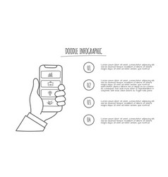doodle smartphone in hand with 4 options hand vector image