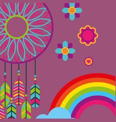 Dream catcher feathers flowers rainbow free spirit vector