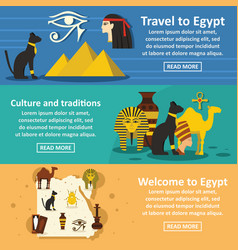 egypt travel banner horizontal set flat style vector image