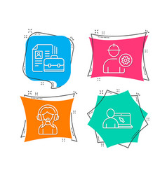 Engineer vacancy and support icons online vector