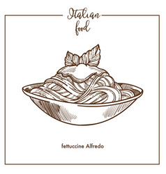 Fettuccine alfredo pasta sketch icon for vector