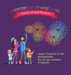 Fireworks safety infographic people look at sky vector