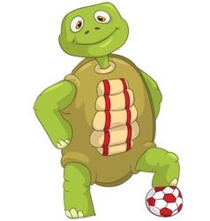 Funny Turtle Soccer Player vector