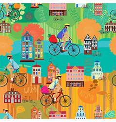 Girl on a bicycle seamless pattern vector