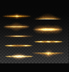 gold glowing lines with light effects vector image