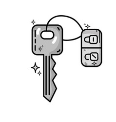 Grayscale key door to security and protection vector