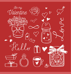 happy valentines day doodle set with vector image