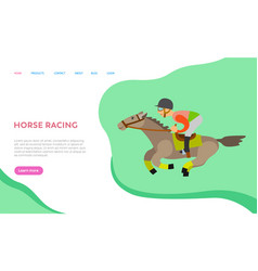 Horse racing equestrian hobby equine sports web vector