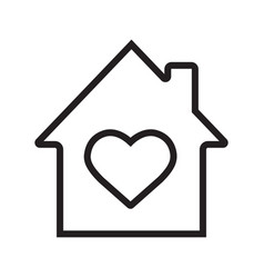 House with heart inside linear icon vector