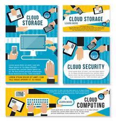 Internet cloud storage technology posters vector