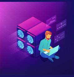 Isometric blockchain development concept vector