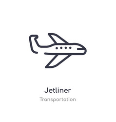 Jetliner outline icon isolated line from vector