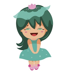 kawaii cheerful magic-green baby-grls vector image